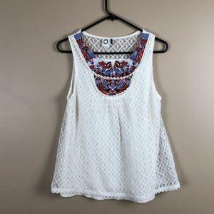 Anthropologie akemi+kin white lace sleeveless top